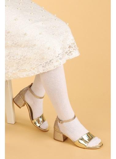Kiko Kids Kiko 768 Ayna Kum Günlük Kız Çocuk 3 Cm Topuk Sandalet Ayakkabı Altın